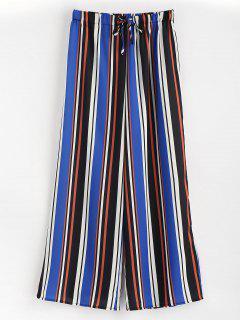 Pantalones De Pierna Ancha Con Rayas De Talle Alto - Multicolor M