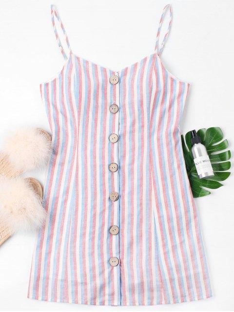 Robe Camisole Boutonnée et à Rayures - Rose Léger XL Mobile