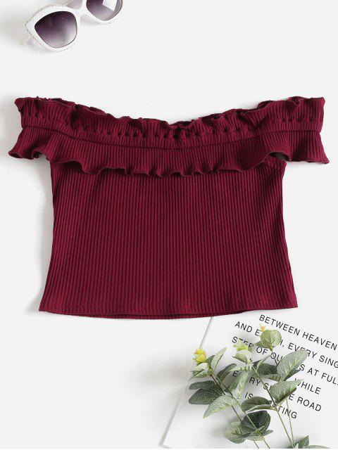 Camiseta con costuras deshilachadas acanaladas - Vino Tinto XL Mobile