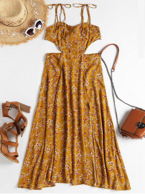 Robe Camisole Florale Fendue avec Cordons aux Epaules - Caramel XL Mobile