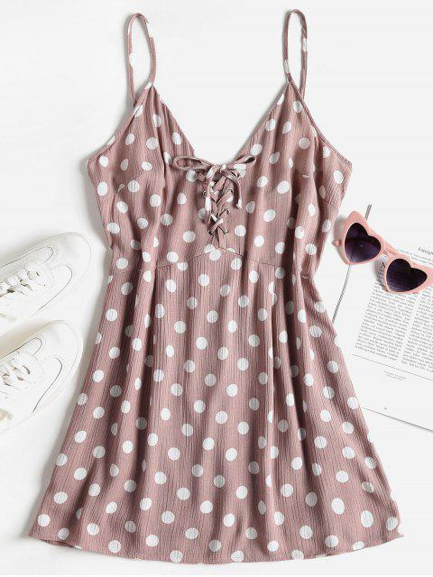 womens Polka Dot Lace Up Mini Sundress - ROSY BROWN L Mobile