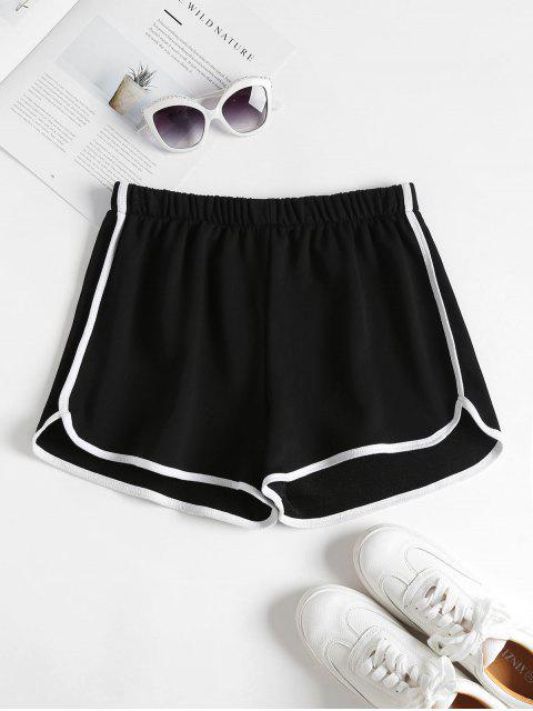 shop Contrast Trim Dolphin Shorts - BLACK S Mobile