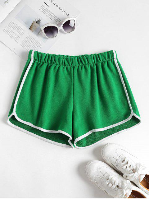 fancy Contrast Trim Dolphin Shorts - SHAMROCK GREEN S Mobile
