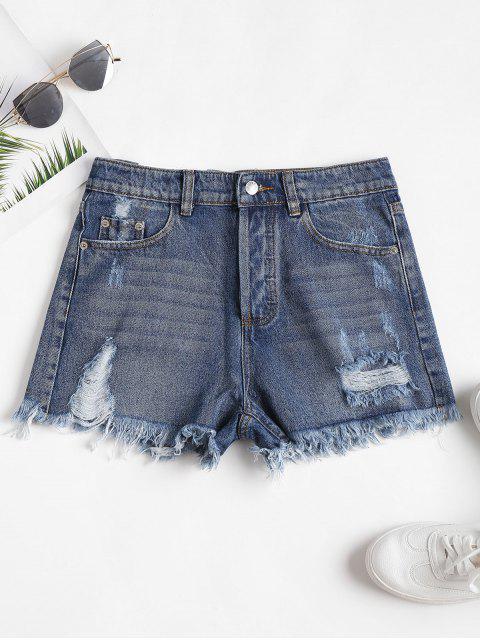 Hoch Taillierte Gerippte Denim Ausgeschnittene Shorts - Blau M Mobile