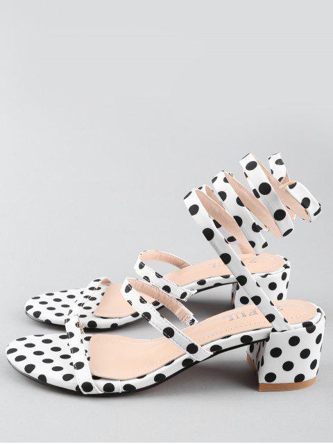 outfits Chunky Heel Retro Polka Dot Tie Leg Sandals - WHITE 37 Mobile