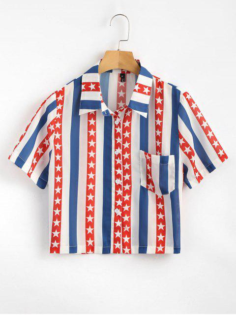 online Button Down American Flag Shirt - MULTI L Mobile