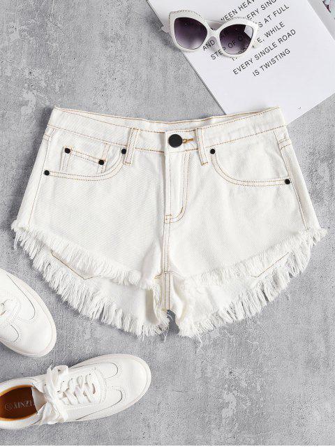 shops Mini Frayed Hem Denim Shorts - WHITE L Mobile