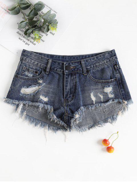 chic Frayed Hem Ripped Denim Shorts - DARK SLATE BLUE M Mobile