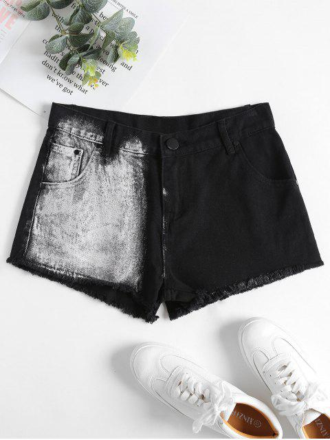 affordable Denim Frayed Hem Mini Shorts - BLACK S Mobile