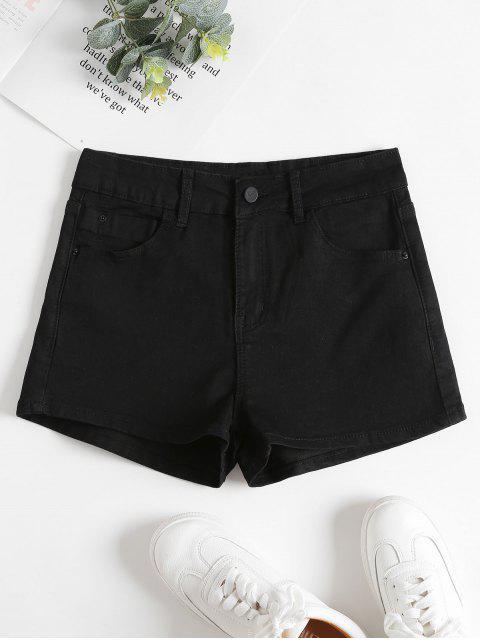 Denim Hoch Taillierte Shorts - Schwarz S Mobile