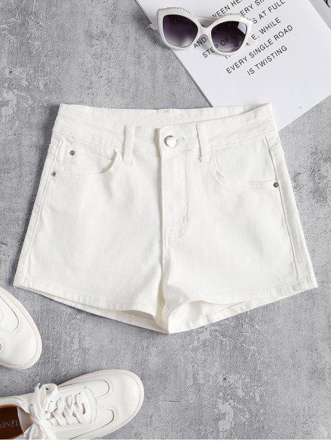 Denim Hoch Taillierte Shorts - Weiß S Mobile