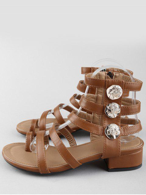 outfit Leisure Low Chunky Heel Gladiator Metallic Thong Sandals - DEEP BROWN 40 Mobile