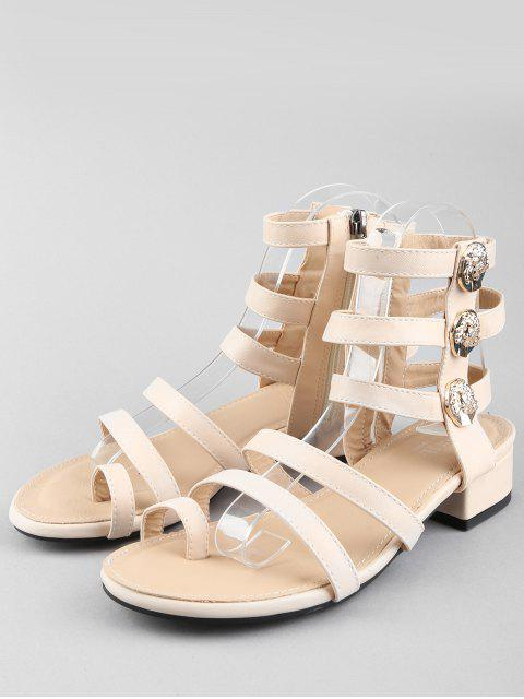outfits Leisure Low Chunky Heel Gladiator Metallic Thong Sandals - WARM WHITE 36 Mobile