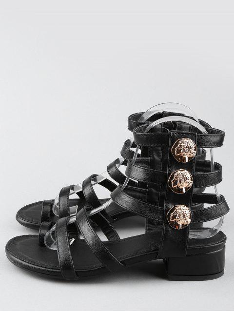 fancy Leisure Low Chunky Heel Gladiator Metallic Thong Sandals - BLACK 37 Mobile