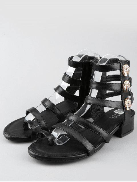 sale Leisure Low Chunky Heel Gladiator Metallic Thong Sandals - BLACK 39 Mobile