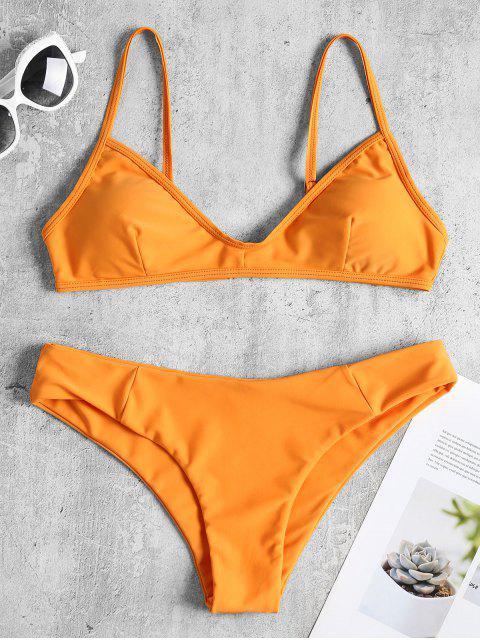 Bikini Taille Basse en Camisole - Orange Foncé L Mobile