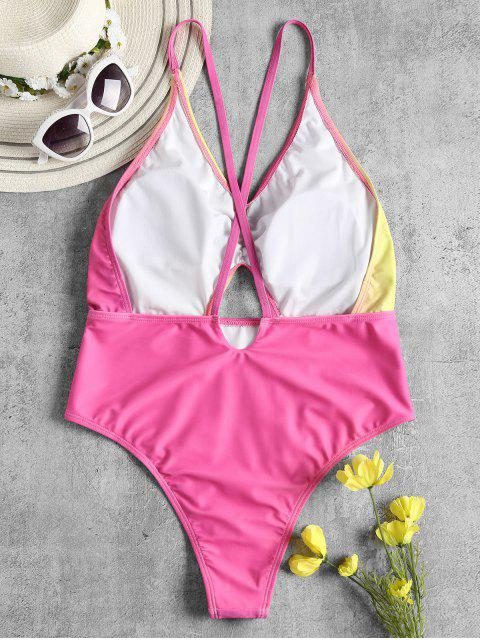 chic Ombre Criss Cross High Cut Swimsuit - HOT PINK M Mobile