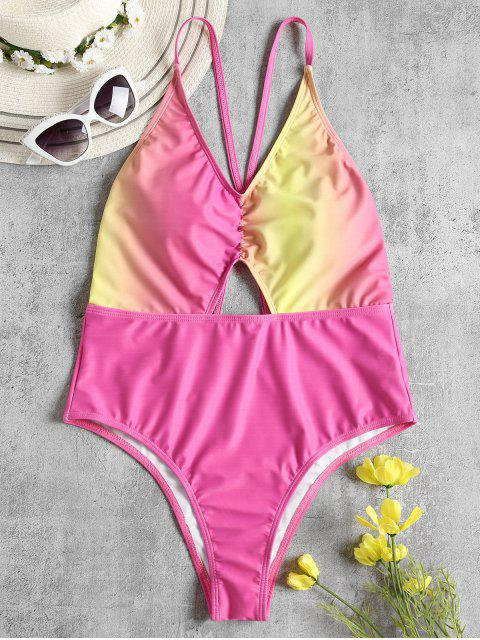 outfits Ombre Criss Cross High Cut Swimsuit - HOT PINK XL Mobile