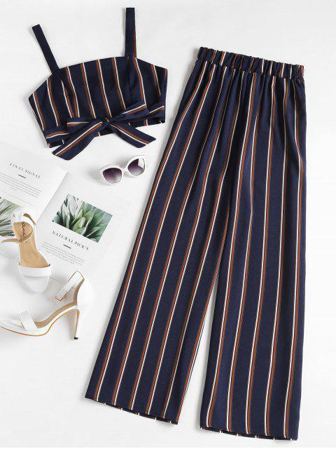 hot Striped Zip Top and Wide Leg Pants - DEEP BLUE S Mobile