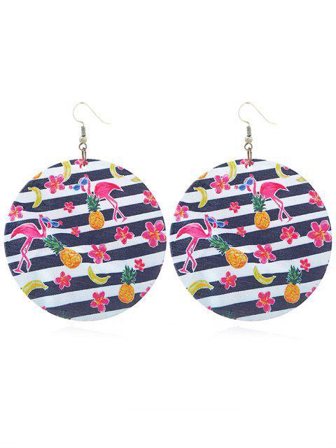 Boucles d'Oreilles Crochets Rondes Motif Adorable Flamant Rose - Multi  Mobile