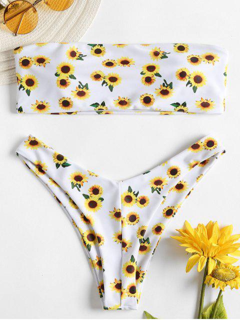 Sonnenblume Bandeau Bikini - Weiß M Mobile