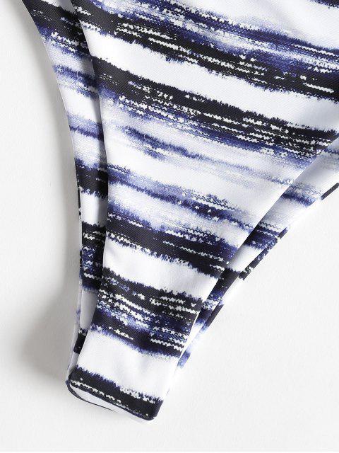 women Stripe Tie Dye Bandeau Bikini - MULTI M Mobile