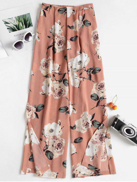 Pantalon Floral avec Jambes Larges Fendues - ROSE PÂLE S Mobile
