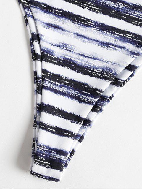 ladies High Leg Stripe Tie Dye Bikini - MULTI S Mobile