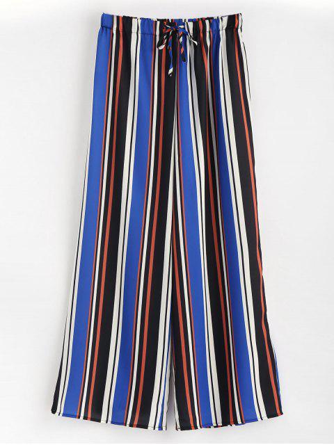 Pantalones de pierna ancha con rayas de talle alto - Multicolor S Mobile