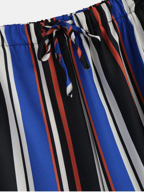 best High Waisted Striped Wide Leg Pants - MULTI M Mobile