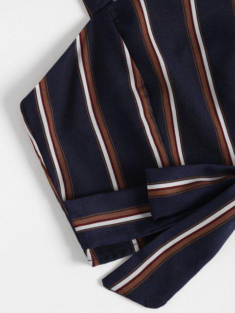 shops Striped Zip Top and Wide Leg Pants - DEEP BLUE XL Mobile