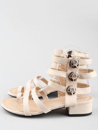 Lazer Low Chunky Heel Gladiator Sandálias de Tanga Metálica - Branco Quente 36