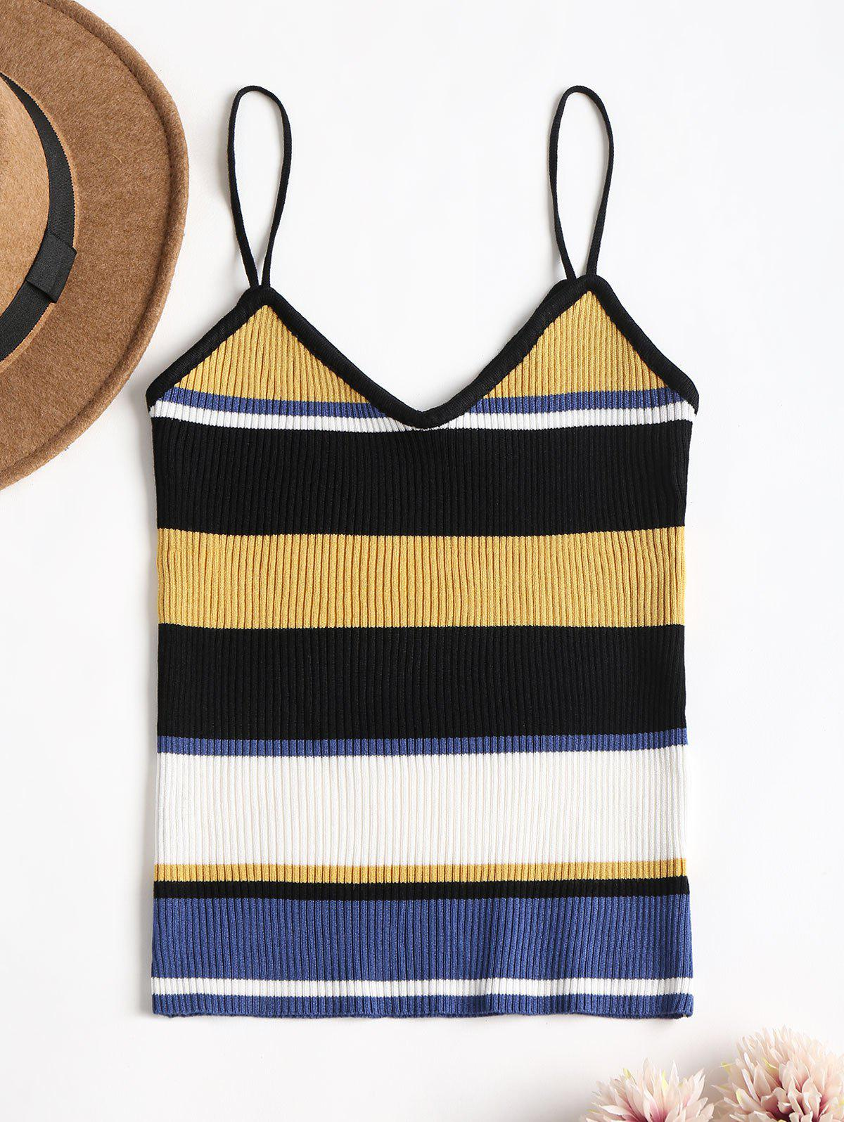 Striped Ribbed Knit Cami Tank Top 269006101