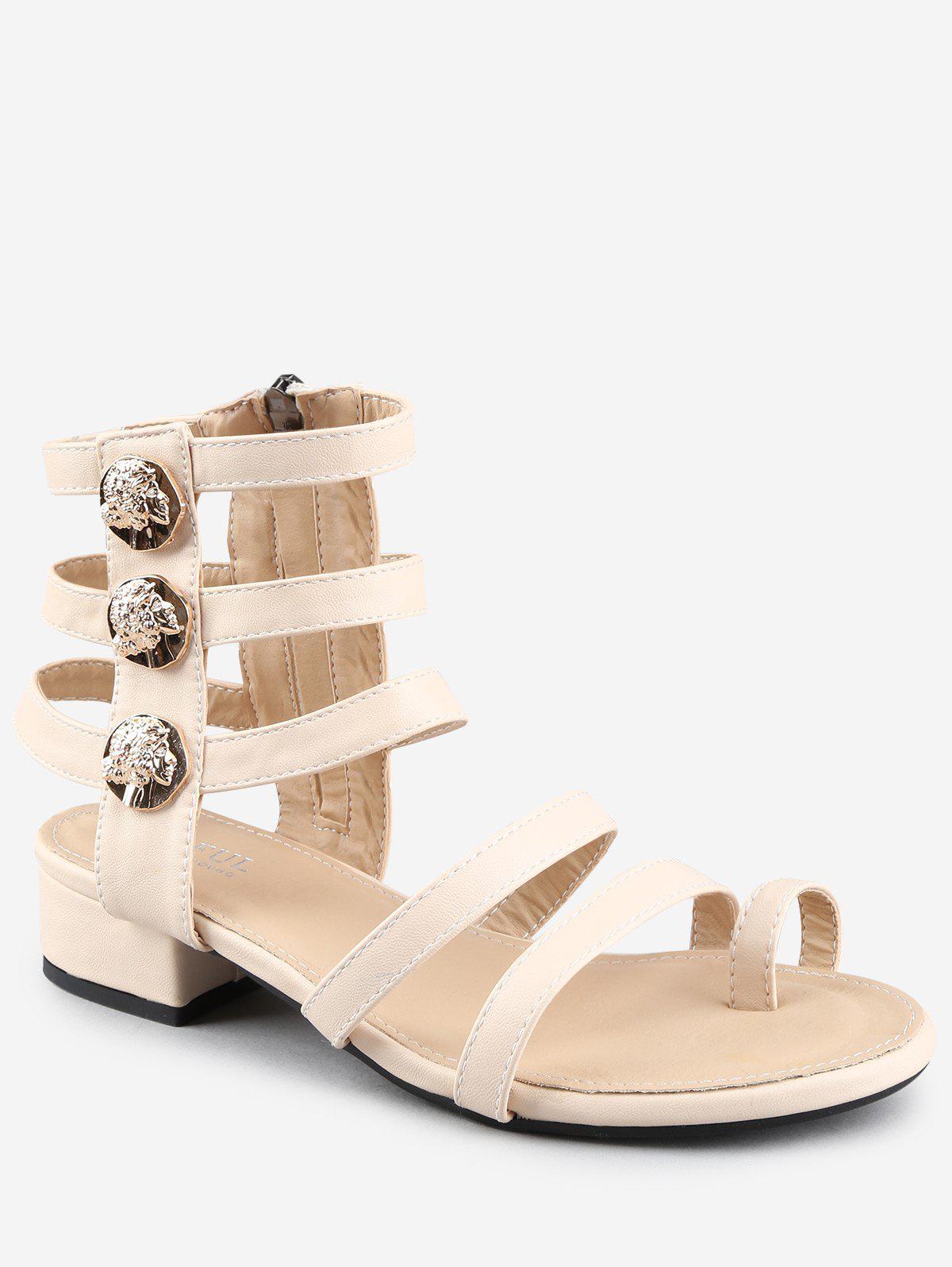 Leisure Low Chunky Heel Gladiator Metallic Thong Sandals