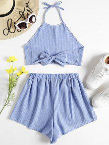 Top S Shorts Azul Claro Twinset Halter Striped Y 5xwqTB