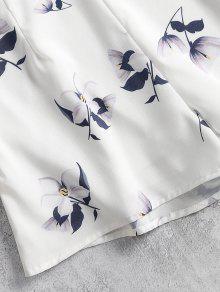 S Pantalones Cortos Top Floral Blanco Y Halter q47PR