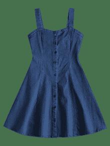 Denim De Minifalda Patinador De Azul Vestido Denim Oscuro M De wE80qx5nt