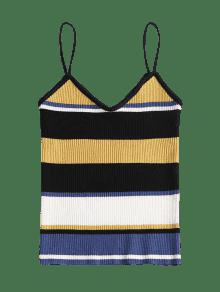 Cami Top Multicolor Ribbed Knit Tank Striped qIE70w