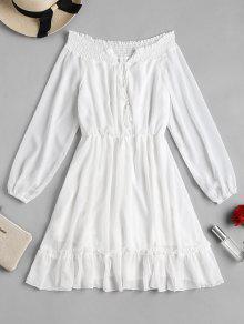 كم طويل قبالة فستان الكتف - أبيض S