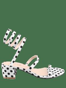 5e389e78bb7530 2019 Chunky Heel Retro Polka Dot Tie Leg Sandals In WHITE 37