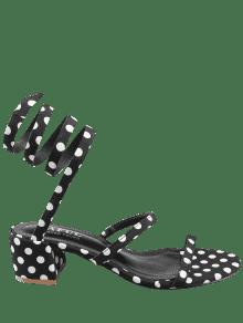 a614f1934f392d 2019 Chunky Heel Retro Polka Dot Tie Leg Sandals In BLACK 37