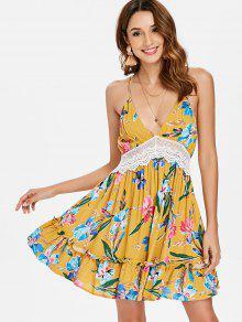 Vestido Oro De Verano S Anaranjado Floral Corte De Bajo crrOwBYq