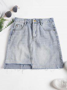 تنورة ضيقة عالية الدينيم - جينز ازرق L