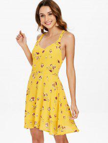 Oscilaci Espalda Brillante Con Enjaulada S Amarillo 243;n Vestido De Floral S1xPwxOqp