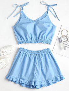 Azul Conjunto Volantes De Top Cristal Shorts Anudados S Y Con g10aqR
