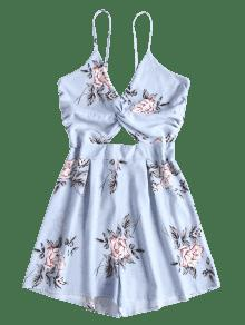 6081a3db2938 40% OFF  2019 Floral Twist Front Cutout Romper In LIGHT BLUE