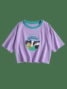 De Camiseta Color Dairy Estampada De Cow Malva wxqA6z0