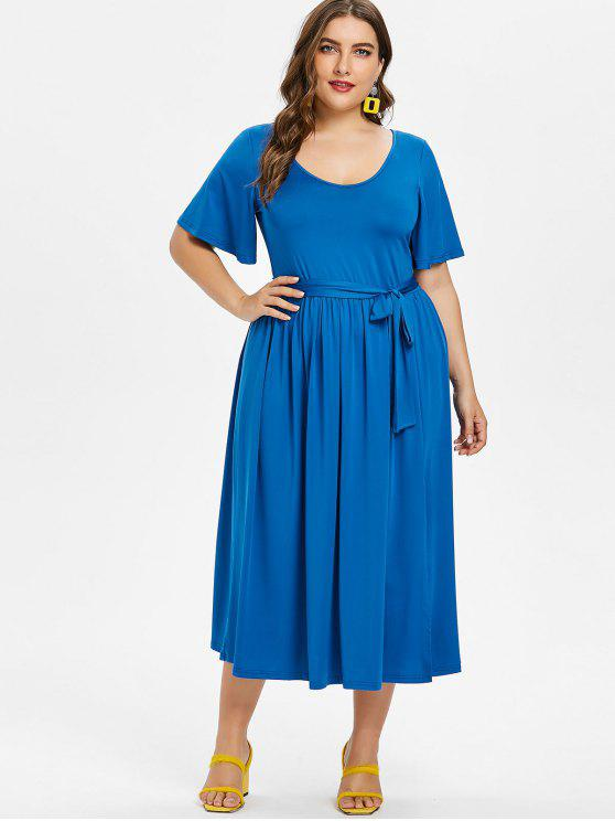 ladies Plus Size Slit Belted Dress - ROYAL BLUE 3X
