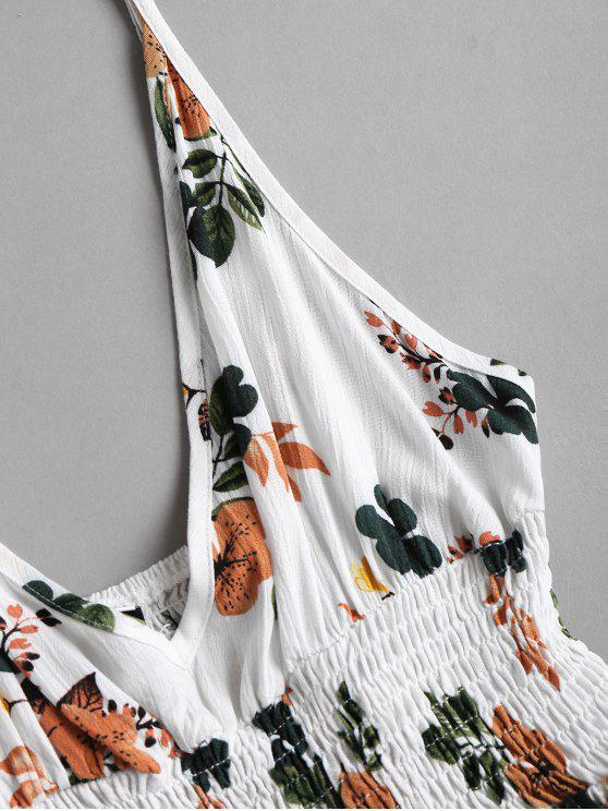 Floral Waist White S Plunge Top Smocked dEwEPq