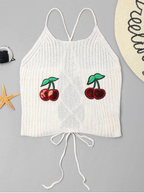 Cherry Patched Cami Top - Blanco L